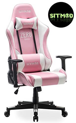 Sitmod Gaming Stuhl Game Stühle Racing Sessel Lehnstuhl für PC Computer, Ergonomische Stuhl mit Lordosenstütze PU-Lede E-Sports Gamer Groß und Hoch (Rosa)