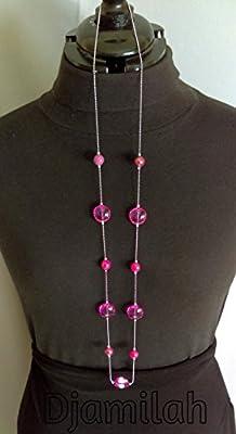Sautoir en métal inoxydable, perles rose foncé (proche Fushia)