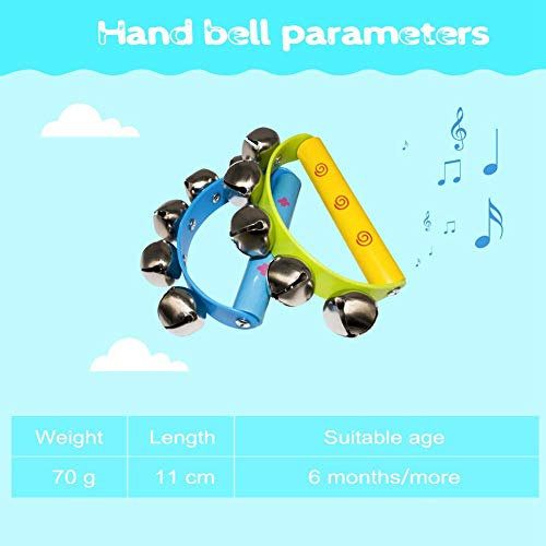 CUHAWUDBA 10Pcs Vivid Color Jingle Bells Sleigh Bells Instrument On Wooden Handle For Baby Kids Children Musical Toys