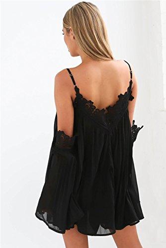 Minetom Damen Sommerkleid Partykleid A-Linie Minikleid dress Off Shoulder V-Ausschnitt langram Urlaub Strandkleid Cocktail chiffon Elegant Sexy Nachtclub Schwarz