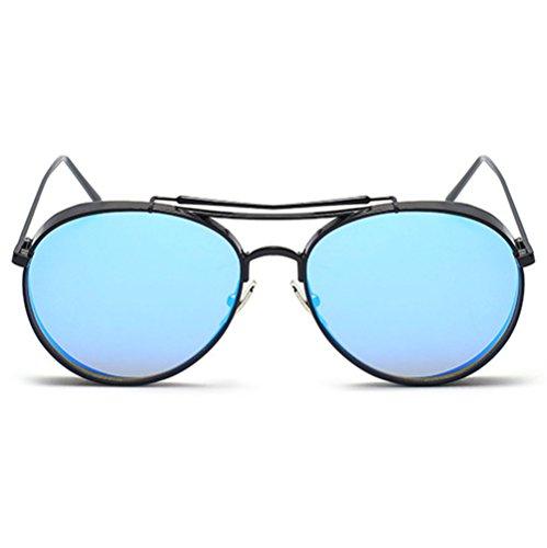 Highdas Fashion Date Lunettes de soleil populaires Femmes Hommes Pilot Shades Anti-UV400 Noir/Bleu