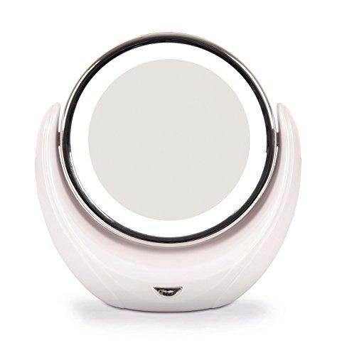 Kosee Beauty Miroir Cosmétique Compact Pour Maquillage Rond et Pivotant à Double Face Illuminé par des LED