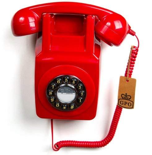 GPO - Teléfono retro con soporte para la pared, color rojo [Importado del Reino Unido]