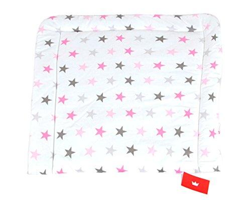 BABYLUX Wickeltischauflage Wickelauflage Baby Wickeltisch 50x70 70x70 80x70 (80 x 70 cm, 93 - Sterne Rosa Grau)
