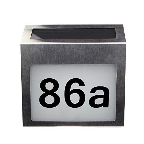 Blusea Solar beleuchtete Adresse Zeichen Hausnummer für Haus Straße Mailbox Outdoor Metall LED Plaque mit Lichtsensor DIY Brief & Zahlen (Adresse Häuser Zeichen Für)