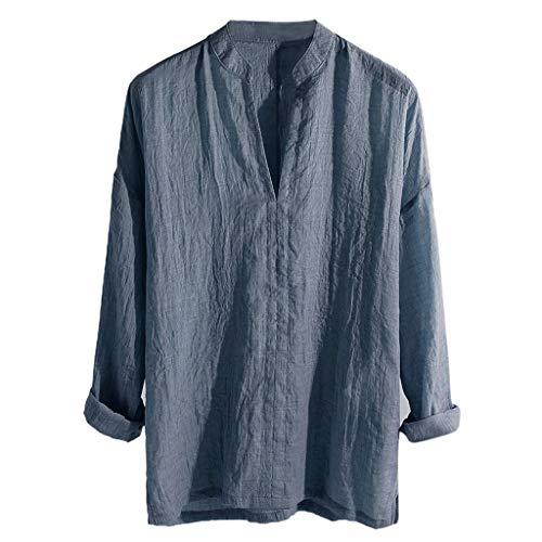 Makefortune Herren Leinen T-Shirt Freizeithemden Einfarbig V-Ausschnitt 3/4 Ärmel Lose Kragenlose Oberteile Bluse - Kragenlos Bluse