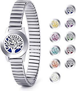 Baum des Lebens/Wolke Edelstahl Aromatherapie Medaillon Armbänder Ätherisches Öl Diffusor Armband mit 12 Farben Pads Aroma Schmuck