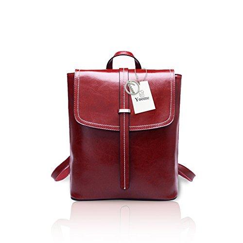 Yoome Frauen Öl Wachs Vintage Leder Rucksack Flapover Damen Umhängetasche Hasp Handtasche Burgund