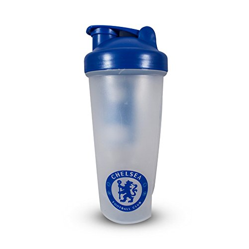 Chelsea FC Official Football Crest Protein Shaker Bottle  One Size   Clear Blue