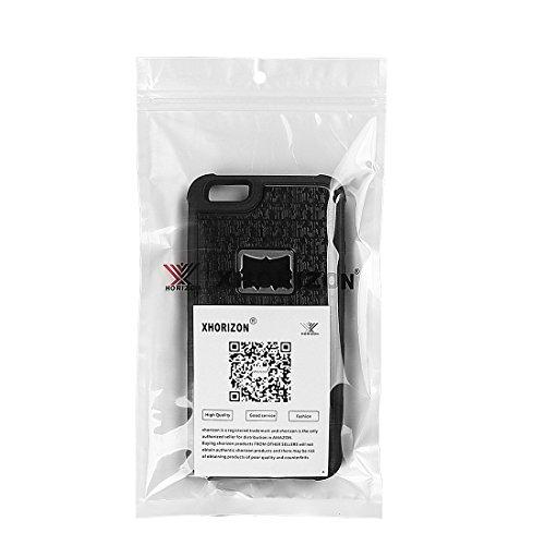 xhorizon FM8, Multifunktionale Handyhülle mit Zigarettenanzünder für iPhone 6 Plus / iPhone 6S Plus, eingebauter Zigarettenanzünder, Flaschenöffner, Hülle für Kamerastativ schwarz