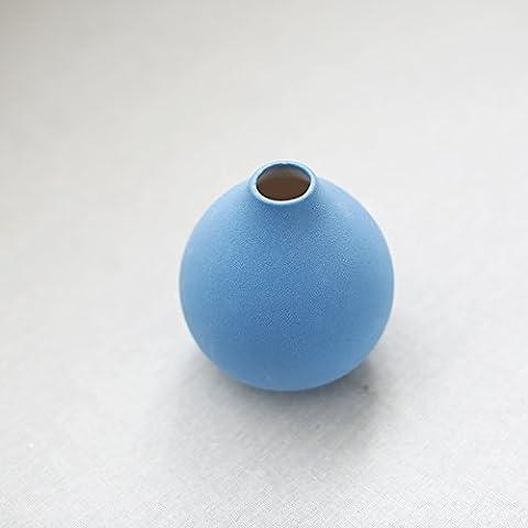 Lbcvh Moderno e minimalista in ceramica creative Round Vase desktop ornamenti per decorare home Accessori decorazione Round - profondo blu - Vase Trio
