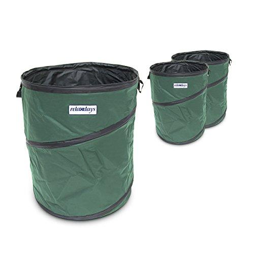 Relaxdays Pop Up Gartensack 85 Liter, faltbares 3er Set, stabil, Gartentonne mit Tragegriffen, Verschluss, für Kompost, Abfall, reißfestes PP, belastbar, wasserdicht, grün