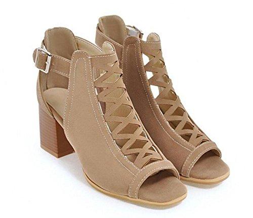 GLTER Frauen Pumps Web Peep-Toe Sandalen High Heels Roman Schuhe Court Schuhe Beige