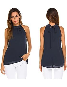 [Patrocinado]Modfine Camisa De Gasa Mujer Camiseta Sin Manga Blusa Color Sólido Blusa Suelta T-Shirt Corto Negro Rojo Vino...