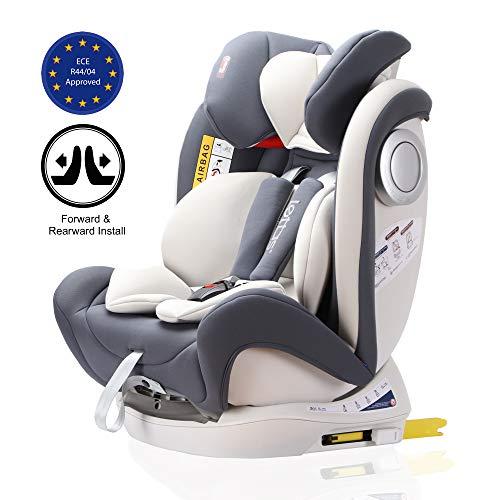 LETTAS Baby Kindersitz Autokindersitz Gruppe 0+1/2/3 (0-36 kg/0-12 Year) mit Protektoren seitliche Isofix Top Tether ECE R44/04 (Grau-2)