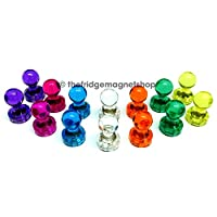 14 x Strong Magnetic Push Pins Neodymium Magnets - Perfect for Maps, Whiteboards, Memos, Fridges and Offices [Assorted Colours]