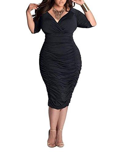BIUBIU Damen Plus size V-Ausschnitt Bandage Cocktailparty Bodycon Bleistift Kleid Schwarz DE 48 Kleider Frauen Schwarz Plus Size