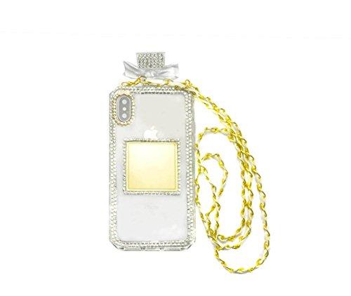 iPhone X Fall, iPhone 10Fall, fusicase Creative Parfüm Flasche Design mit 3D Handmade glänzend Sparkle Diamond Kette Bumper TPU Weiche Handtasche Fall Spannbettlaken für iPhone X, Weiß