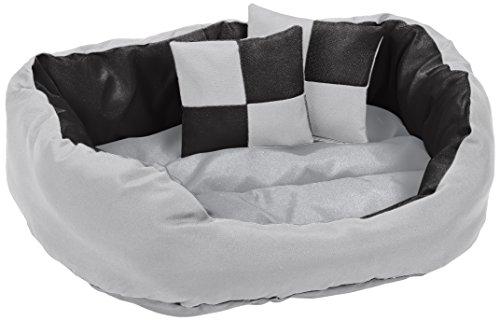 DB00310 Hundebett - Hundekissen, Hundesofa abwischbar mit Wendekissen, 65 x 50 x 20 cm, schwarz/grau