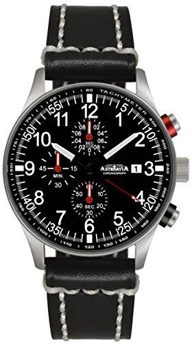 Astroavia Herren-Armbanduhr Chronograph Quarz mit Leder Armband N38L3