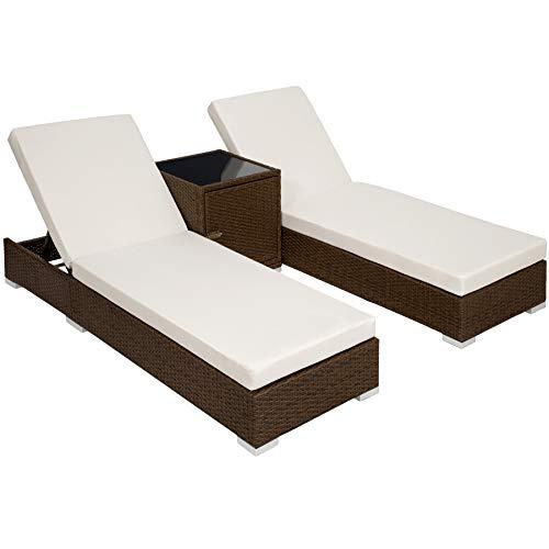 TecTake 2X Aluminium Polyrattan Sonnenliege + Tisch Gartenmöbel Set – inkl. 2 Bezugsets + Schutzhülle, Edelstahlschrauben – Diverse Farben –