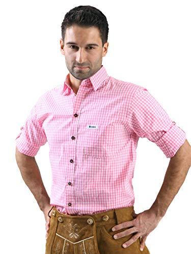 ALMBOCK Trachtenhemd Herren kariert | Slim-fit Männer Hemd pink rosa kariert | Karo Hemd aus 100% Baumwolle in den Größen S-XXXL - Pink Schwarz Karo