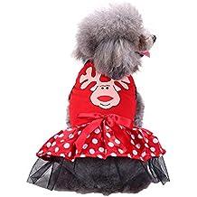 Fossrn Navidad Ropa Mascotas Tutu Vestido Disfraz Navidad Ropa Perro Pequeño Chihuahua Yorkshire Niña