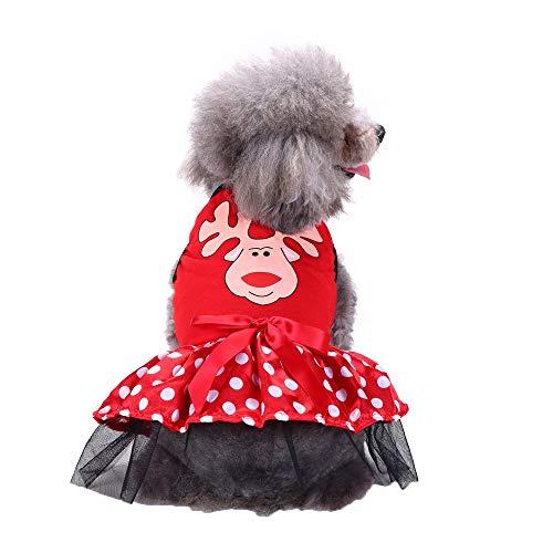 XXYsm Hundekleidung Kleine Hunde Winter Weihnachten Kleid mit Bowknot Haustier Festival Kleidung Rot M/Büste: 43 cm