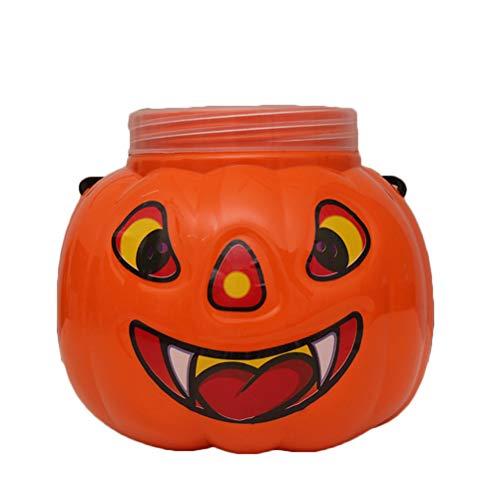 Amosfun Kunststoff Kürbis Eimer Halloween tragbare Kürbis Eimer mit Deckel Kinder Kürbis Candy Holder Party Favors Supplies, Kinder Party Dekoration