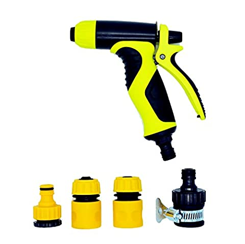 Garden Hose Spray Gun, Case Wonder Multi-Function Car Wash Spray Gun Brass Hose Nozzle Sprayer Hand Sprayer Water Sprinklers High Pressure Pistol Grip Front Trigger, Flow Control Setting Knob, Suitable for Car Wash, Cleaning, Watering Lawn, Garden Washing Dogs