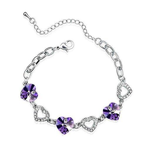 Bracelet suite de coeurs cristal swarovski elements plaqué or blanc Violet