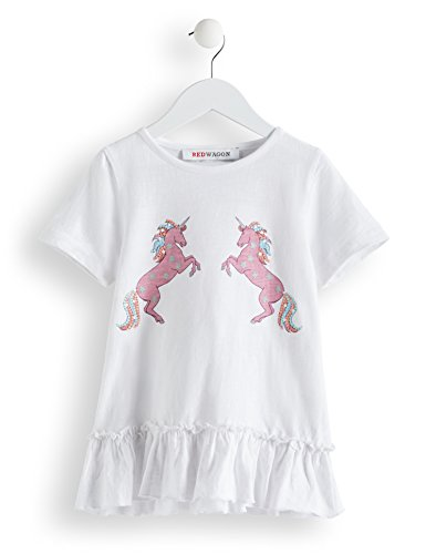 RED WAGON Girl's Unicorn T-Shirt, White, 146 (Manufacturer Size: 11)