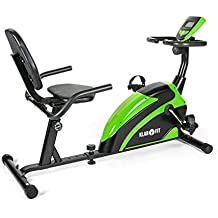 Klarfit Relaxbike 5G • bicicleta estática horizontal • bicicleta reclinada • entrenamiento en posición de descanso • peso a rotar de 5 kg • medidor de pulso • máx. 100kg • negro-verde
