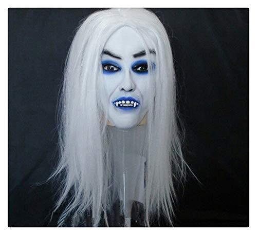 Hexe Latex Horror Gruselige Maske, Scary Toothy Zombie Halloween Party Requisiten Blauer Mund ()