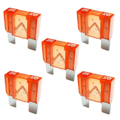 5 x Flachstecksicherung MAXI - Sicherung 50A / 32V / rot