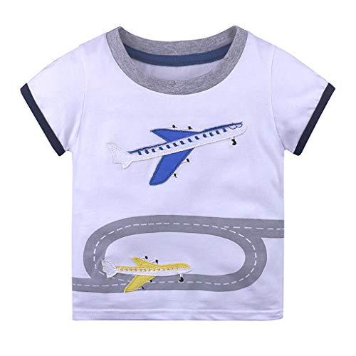 Julhold Infant Kleinkinder Baby Kinder Freizeit Gestreifte Cartoon Tiere Gedruckt Baumwolle T-Shirt Kleidung 1-6 Jahre