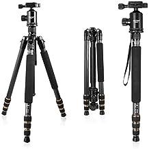 Tragbares Carbonfaser Kamerastativ Mactrem AT64C,163,8cm (64.5''), abnehmbares Einbeinstativ, 360 Grad Kugelkopf, 63,5cm (¼'') Schnellwechselplatte und Tragetasche für Digital/Video/Spiegelreflex Kameras,15kg (33lbs) maximale Belastbarkeit