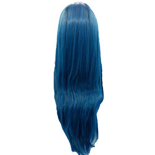 LINSINCH Damenperücke, modisch, Lace-Front, Blau, Kunsthaar, lange Perücke, charmant, gewellt, glatt, Cosplay Party