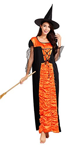 Honeystore Damen Halloween Kostüme Lang Rock Orange Hexe Cosplay Allerheiligen Kleider M