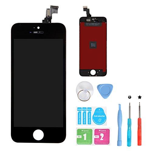 HSX_Z Ecran LCD Vitre Tactile pour iPhone 5C, Remplacement Retina Display Complet avec Outils de Réparation pour iPhone 5C Noir