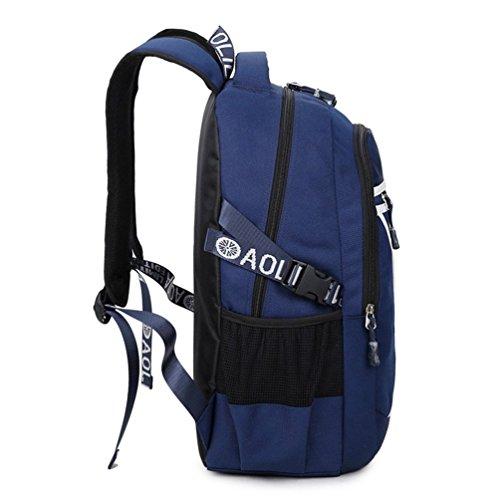 Go Further Neue beiläufige Art reine Farbe Reisetasche wasserdicht Student Buch blauen Rucksack Blau