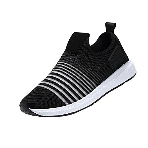 Mode Mesh Sneaker Herren, DoraMe Männer Frühling Beiläufige Reiseschuhe Atmungsaktive Wohnungen Sportschuhe Streifen Slip-On Schuhe (EU:41/CN:42, Schwarz)