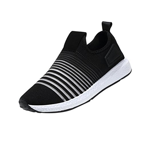 Mode Mesh Sneaker Herren, DoraMe Männer Frühling Beiläufige Reiseschuhe Atmungsaktive Wohnungen Sportschuhe Streifen Slip-On Schuhe (EU:41/CN:42, Schwarz) (Cool, Senden Einheit)