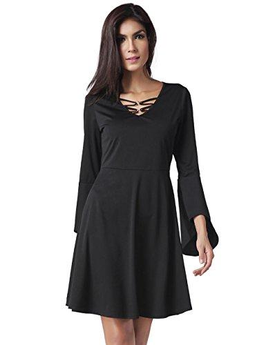 Mode für Frauen sexy V-Ausschnitt Trompete Hülse schwarzes Kleid , black , s (Denim Einreiher Kragen)