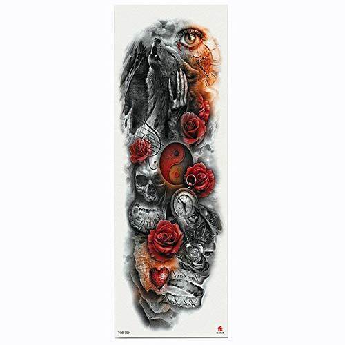 Tatuaggio completo per tatuaggio con braccio a forma di fiore, lupo, manica a trasferimento d'acqua, confezione da 4,17×48cm