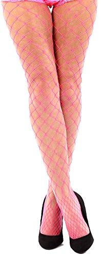 krautwear Damen Strumpfhose Offen Netzstrümpfe Halterlose Netz Straps Strümpfe Elegant Sexy Netzstrumpfhose Hoher Bund Schwarz Rot Weiss Neon Pink Grün Kostüm Fasching Karneval 80er (2145-pink) (Strumpfhosen Grüne Adult)