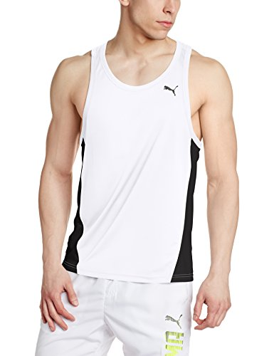 PUMA Cross The Line Singlet Top, Hombre, Blanco (White/Black), S