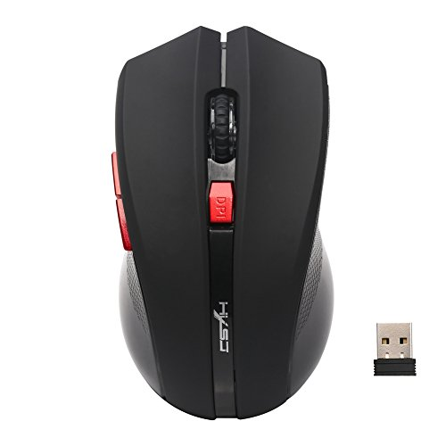 CoralStore 2.4GHz Wireless Portable Optical 2400DPI Gaming Mouse +Mini USB Receiver for PC  (schwarz)