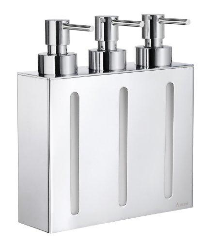 Smedbo OUTLINE Seifenspender 3-fach mit Wandhalter Messing verchromt - Smedbo Chrom-badezimmer-seifenspender