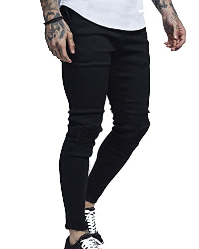 Herren Hose Jeans Jeans Hosen 5-Pocket Destroyed Stretch Freizeithose Denim Schwarz 3XL 5-pocket Stretch-bootcut-jeans